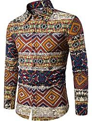 cheap -Men's Going out Club Weekend Boho / Chinoiserie Linen Shirt - Floral Standing Collar Khaki / Long Sleeve