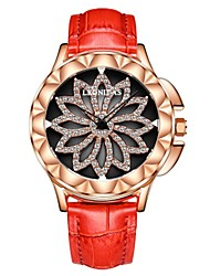 cheap -Women's Wrist Watch Diamond Watch Japanese Quartz Genuine Leather Black / White / Red 50 m Water Resistant / Waterproof Chronograph Hollow Engraving Analog Ladies Flower Fashion Elegant Christmas -