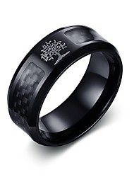 cheap -Men's Band Ring Black Stainless Steel Tungsten Steel Circle Fashion Initial Formal Work Jewelry