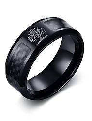 Недорогие -Муж. Кольцо Черный Нержавеющая сталь Вольфрамовая сталь Круглый Мода Первоначальные ювелирные изделия Официальные Офис Бижутерия