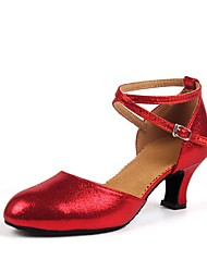 cheap -Women's Modern Shoes Ballroom Shoes Line Dance Heel Customized Heel Red Gold Toggle Clasp