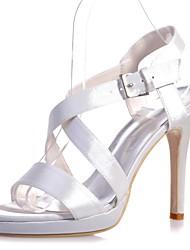 cheap -Women's Sandals Stiletto Heel Open Toe Buckle Satin Basic Pump Spring / Summer Black / White / Purple / Wedding / Party & Evening / EU37