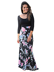 cheap -Women's Floral Maxi Black Dress Street chic Fall Party Daily Loose Sheath Floral Solid Colored S M High Waist