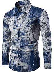 cheap -Men's Going out Weekend Chinoiserie Linen Slim Shirt - Abstract Print Spread Collar Blue / Long Sleeve