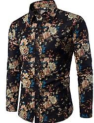 cheap -Men's Going out Club Boho Linen Slim Shirt - Floral Print Spread Collar Black / Long Sleeve