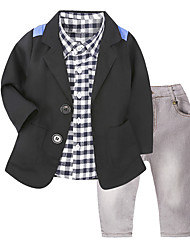 cheap -Toddler Boys' Casual Street chic Daily School Houndstooth Long Sleeve Regular Regular Cotton Clothing Set Black