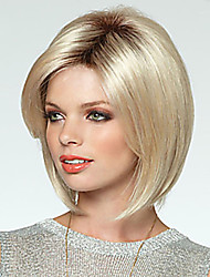 cheap -Synthetic Wig Straight Straight With Bangs Wig Blonde Medium Length Black / Gold Synthetic Hair Women's Side Part Blonde