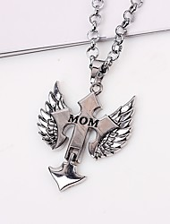 cheap -Men's Pendant Necklace Chain Necklace Engraved Cross Wings Fashion Hip-Hop Alloy Silver Necklace Jewelry One-piece Suit For Gift Daily