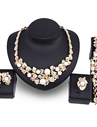 cheap -Women's Pearl Jewelry Set Leaf Flower Statement Ladies Elegant Oversized 18K Gold Plated Imitation Pearl Gold Plated Earrings Jewelry Gold For Wedding Party