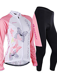 cheap -Nuckily Women's Long Sleeve Cycling Jersey with Tights Pink Butterfly Bike Jersey Clothing Suit Windproof Breathable Anatomic Design Reflective Strips Back Pocket Sports Polyester Lycra Butterfly