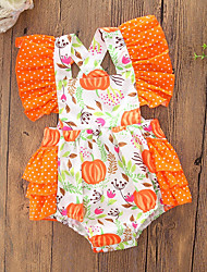 cheap -Baby Girls' Simple / Active Holiday / Casual / Daily Geometric / Color Block Sleeveless Cotton Bodysuit Orange / Cute / Toddler