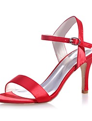 cheap -Women's Sandals Stiletto Heel Open Toe Buckle Satin Basic Pump Spring / Summer Black / White / Purple / Party & Evening / Wedding