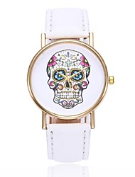cheap -Women's Wrist Watch Quartz Quilted PU Leather Black / White / Blue Casual Watch Skull Analog Ladies Casual Skull Unique Creative - Pink Khaki Light Green One Year Battery Life / Jinli 377