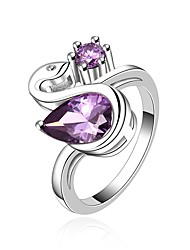 cheap -Women's Band Ring Synthetic Amethyst Cubic Zirconia One-piece Suit Purple Zircon Gold Plated Silver Circle Vintage Basic Fashion Wedding Engagement Jewelry Drop