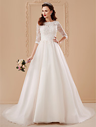 cheap -Ball Gown Wedding Dresses Bateau Neck Sweep / Brush Train Tulle Over Lace 3/4 Length Sleeve Romantic Glamorous Backless with Appliques Flower 2021