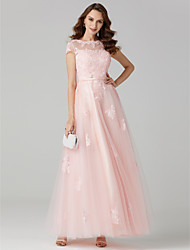 cheap -Ball Gown Pastel Colors Holiday Cocktail Party Prom Dress Jewel Neck Short Sleeve Floor Length Tulle Over Lace with Sashes / Ribbons Appliques 2020