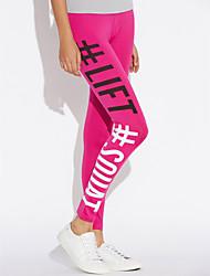 cheap -Women's Daily Wear Sexy Print Legging - Letter, Print High Rise Black Fuchsia Dark Gray M L XL / Skinny