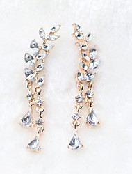 cheap -Women's Crystal Drop Earrings Leaf Ladies Classic Fashion Crystal Earrings Jewelry Gold / Silver For Daily 2pcs