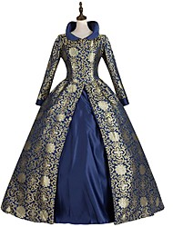 cheap -Rococo Victorian Dress Party Costume Masquerade Japanese Cosplay Costumes Purple / Green / Royal Blue Floral Vintage Long Sleeve Floor Length