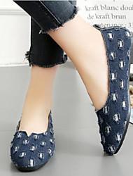 cheap -Women's Flats Flat Heel Closed Toe Denim Comfort Walking Shoes Spring / Summer Black / Dark Blue / Blue