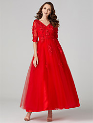 cheap -Ball Gown Holiday Cocktail Party Prom Dress V Neck 3/4 Length Sleeve Ankle Length Tulle with Appliques Flower 2020