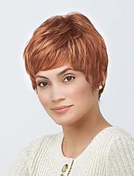 Недорогие -Человеческие волосы Парик Короткие Прямой Стрижка под мальчика Короткие Прически 2020 Прямой силуэт Боковая часть Машинное плетение Жен. Medium Auburn 8 дюйм