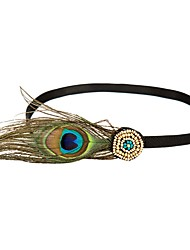 cheap -The Great Gatsby Flapper Headband 1920s Women's Cyan Feather Party Prom Cosplay Accessories Masquerade Costumes