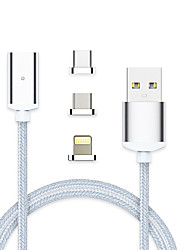 cheap -Lightning / USB 3.1 / Type-C Cable 1m-1.99m / 3ft-6ft All-In-1 / Braided / Magnetic Aluminum / Nylon / TPE USB Cable Adapter For Macbook / iPad / Samsung