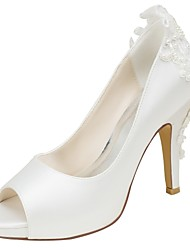 cheap -Women's Stretch Satin Spring / Fall Basic Pump Wedding Shoes Stiletto Heel Peep Toe Pearl Ivory / Party & Evening