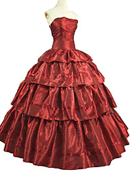 cheap -Shrugs Rococo Victorian Costume Dress Outfits Masquerade Red Vintage Cosplay Taffeta Short Sleeve Puff / Balloon Sleeve Ankle Length Ball Gown