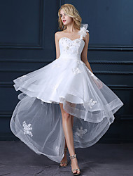 cheap -A-Line One Shoulder Asymmetrical Satin / Tulle Regular Straps Little White Dress Made-To-Measure Wedding Dresses with Sequin / Appliques 2020