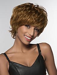 cheap -Human Hair Blend Wig Short Natural Wave Natural Wave Side Part Machine Made Women's Natural Black #1B Medium Auburn#30 Medium Auburn / Bleach Blonde 10 inch