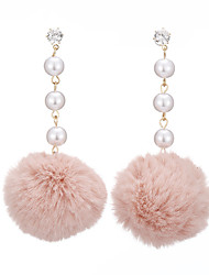 cheap -Women's Pearl Drop Earrings Long Ball Ball Ladies Sweet Fashion Imitation Pearl Fur Earrings Jewelry Brown / Green / Pink For Causal Daily