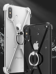 cheap -Case For iPhone 7 / iPhone 7 Plus / Apple iPhone X / iPhone 8 Plus / iPhone 8 Shockproof / with Stand / Ring Holder Bumper Solid Colored Hard Metal