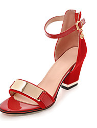 cheap -Women's Sandals Chunky Heel Zipper / Metallic Toe Leatherette Club Shoes Spring / Summer Black / Red / Party & Evening / Party & Evening / EU42