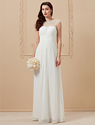 cheap -A-Line Jewel Neck Floor Length Chiffon Cap Sleeve Beach Illusion Detail Made-To-Measure Wedding Dresses with Beading / Criss Cross 2020