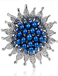 cheap -Women's Brooches Flower Ladies Fashion Imitation Pearl Brooch Jewelry White Dark Blue Blue For Wedding Party Masquerade Engagement Party Prom Promise