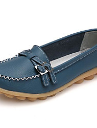 cheap -Women's Loafers & Slip-Ons Flat Heel Round Toe Buckle Cowhide Comfort Spring / Fall Coffee / Red / Light Blue