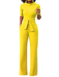 cheap -Women's Wide Leg Daily / Weekend Turtleneck Black Wine White Wide Leg Slim Jumpsuit Onesie, Solid Colored S M L Half Sleeve Spring Summer