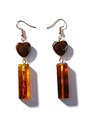 cheap -Women's Drop Earrings Long Heart Ladies Vintage Korean Fashion Earrings Jewelry Brown For Daily