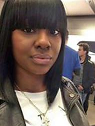 cheap -Human Hair Wig Medium Length kinky Straight Bob kinky straight Machine Made Women's Black#1B 12 inch