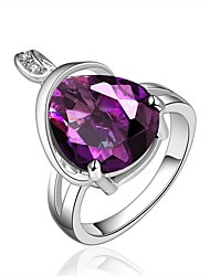 cheap -Women's Band Ring Synthetic Amethyst Cubic Zirconia One-piece Suit Purple Zircon Gold Plated Silver Geometric Vintage Basic Fashion Wedding Engagement Jewelry Drop