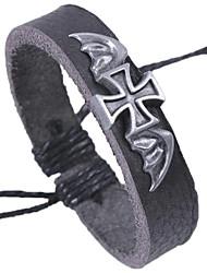 Недорогие -Муж. Кожаные браслеты Браслет Крест Камни Готика Кожа Браслет Ювелирные изделия Черный Назначение Школа Свидание