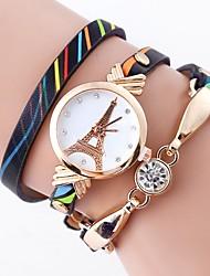 cheap -NAVIFORCE Women's Bracelet Watch Wrap Bracelet Watch Quartz Quilted PU Leather White / Blue / Green Imitation Diamond Analog Ladies Flower Casual Eiffel Tower Bohemian - Yellow Green Blue One Year