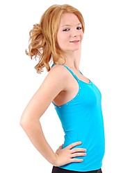 cheap -Figure Skating Top Women's Girls' Ice Skating Top Black White Blue Spandex Stretchy Performance Practise Skating Wear Solid Colored Sleeveless Ice Skating Figure Skating