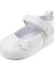 cheap -Girls' Comfort / First Walkers / Crib Shoes Leatherette Flats Infants(0-9m) Appliques / Magic Tape White / Black Spring & Summer / Party & Evening