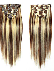cheap -Febay Clip In Human Hair Extensions Straight Human Hair
