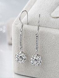 cheap -Women's Cubic Zirconia Drop Earrings Asian Classic Sweet Silver Plated Earrings Jewelry White / Silver For Wedding Party 1pc