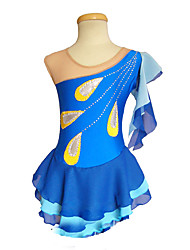 cheap -Figure Skating Dress Women's Girls' Ice Skating Dress Blue Peacock Asymmetric Hem Spandex Inelastic Training Competition Skating Wear Solid Colored Sleeveless Ice Skating Figure Skating