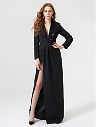 cheap -Sheath / Column Furcal Holiday Cocktail Party Prom Dress Plunging Neck Long Sleeve Floor Length Chiffon with Sash / Ribbon Buttons Pleats 2020 / Formal Evening
